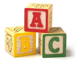 Childrens' A-B-C blocks